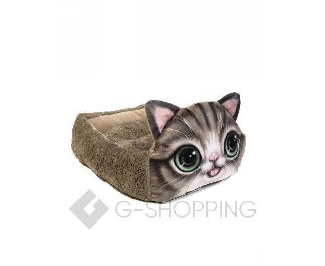 Квадратная кровать для домашних питомцев с мультяшным принтом кошки, фото 1