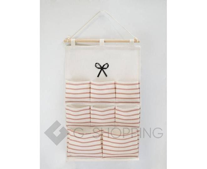 Настенный органайзер из льняной ткани с 8 карманами в красную полоску, фото 1