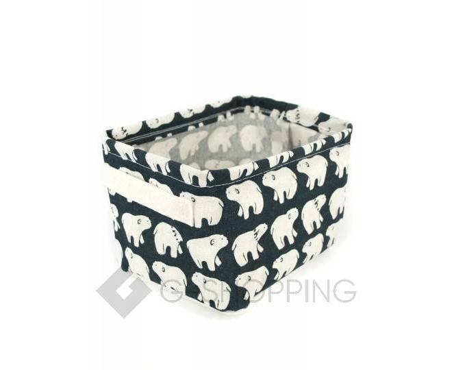 """Настольная текстильная корзина для хранения мелочей """"Белые медведи"""", фото 1"""