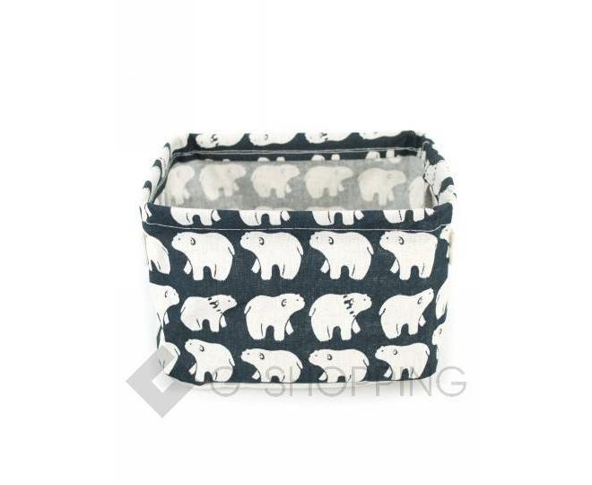 """Настольная текстильная корзина для хранения мелочей """"Белые медведи"""", фото 2"""
