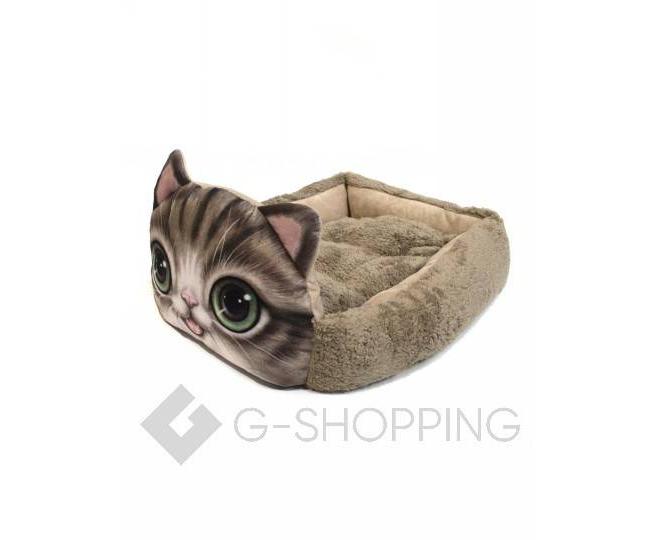 Квадратная кровать для домашних питомцев с мультяшным принтом кошки, фото 3