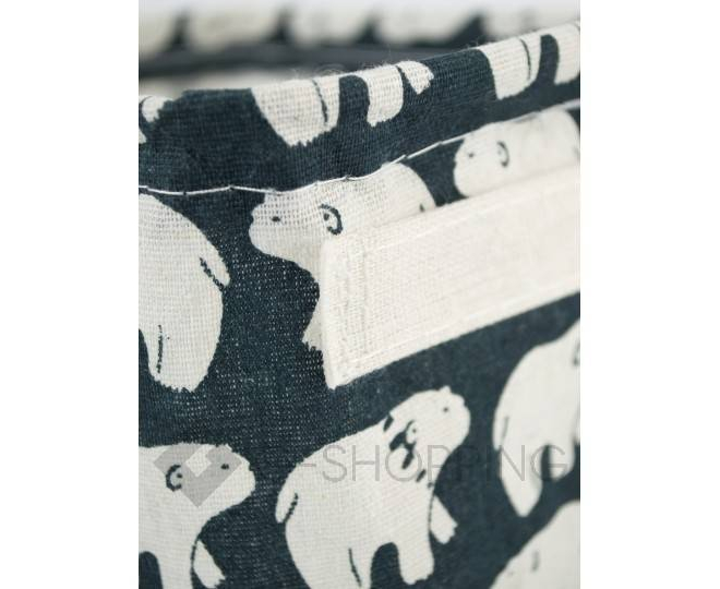 """Настольная текстильная корзина для хранения мелочей """"Белые медведи"""", фото 4"""