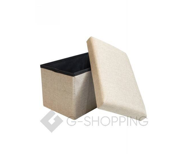 Стильное сиденье с ящиком для хранения из текстиля бежевый, фото 1
