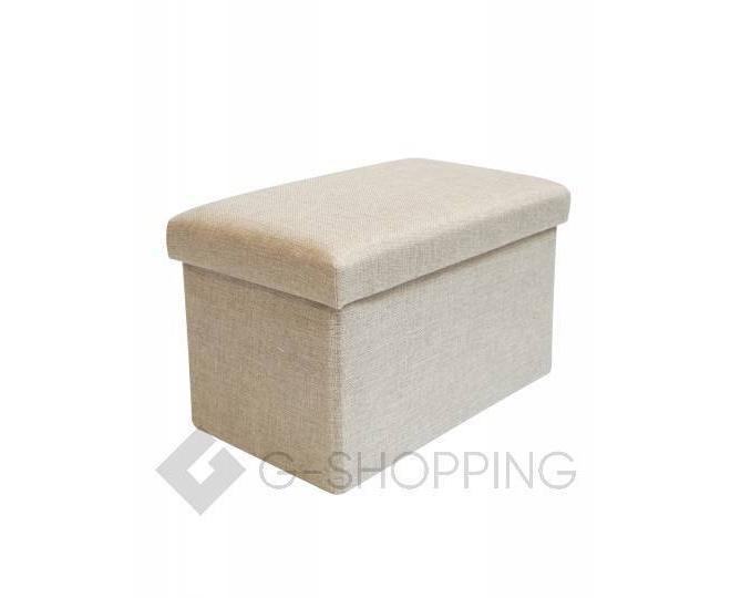 Стильное сиденье с ящиком для хранения из текстиля бежевый, фото 4