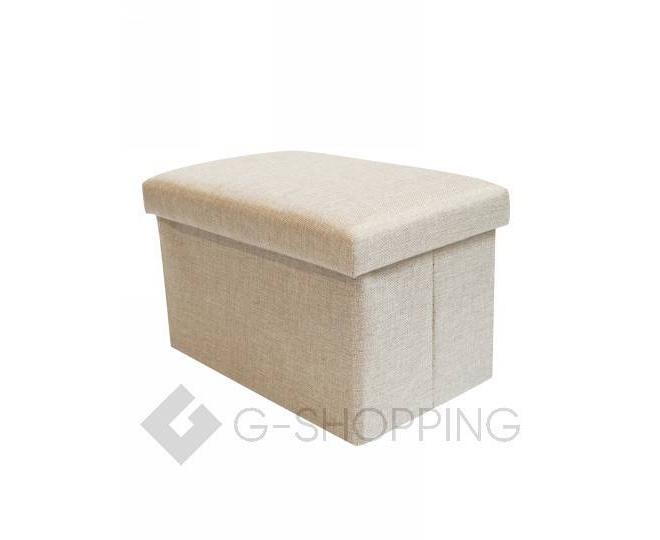 Стильное сиденье с ящиком для хранения из текстиля бежевый, фото 6