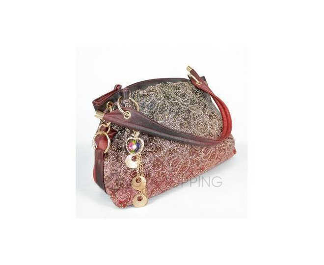Женская красная сумка с короткими ручками на молнии c080 Kingth Goldn, фото 4
