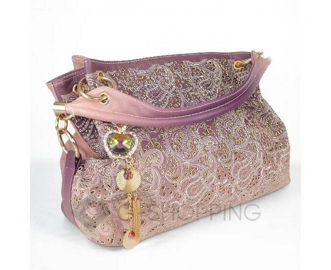 Женская розовая сумка с короткими ручками на молнии c080 Kingth Goldn, фото 4