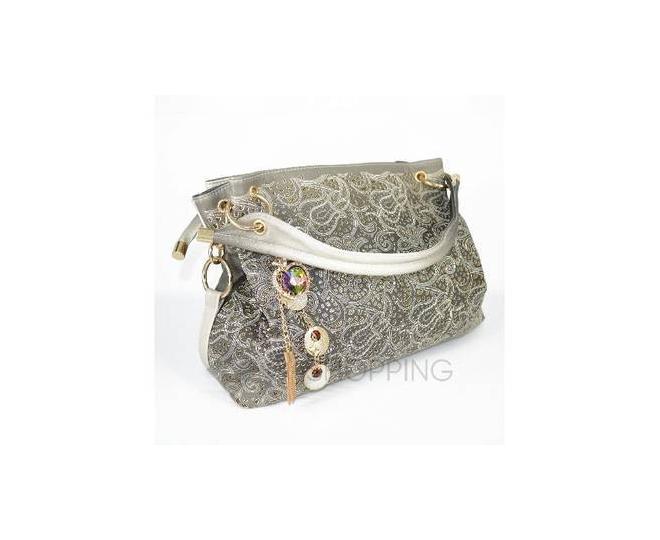 Женская серая сумка с короткими ручками на молнии c080 Kingth Goldn, фото 4