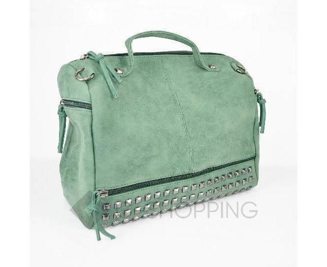 Женская зеленая сумка на молнии среднего размера c082 Kingth Goldn, фото 4