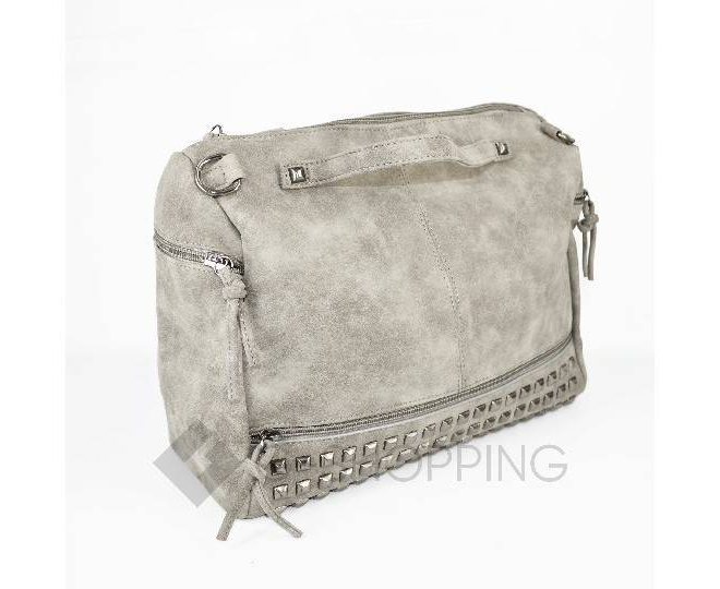Женская серая сумка на молнии среднего размера c082 Kingth Goldn, фото 4