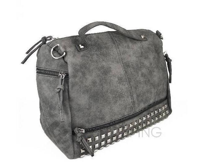 Женская черная сумка на молнии среднего размера c082 Kingth Goldn, фото 4