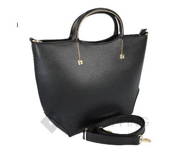 Женская черная сумка среднего размера на молнии c085 Kingth Goldn, фото 3