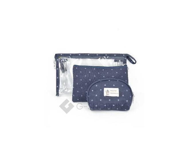 Комплект женских  косметичек синий из трех удобных сумочек разного размера, фото 1