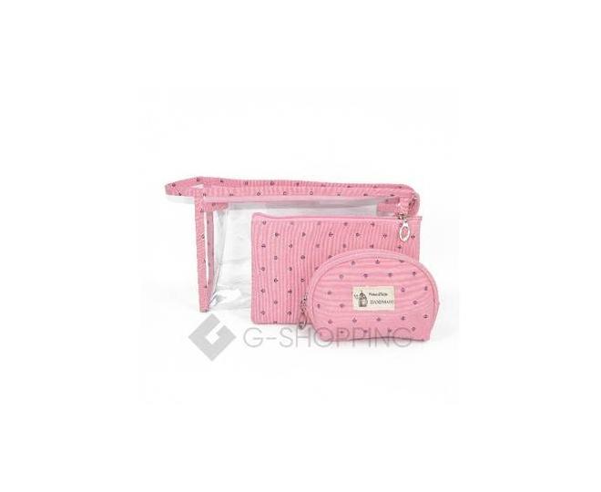 Комплект женских косметичек розовый из трех удобных сумочек разного размера, фото 1