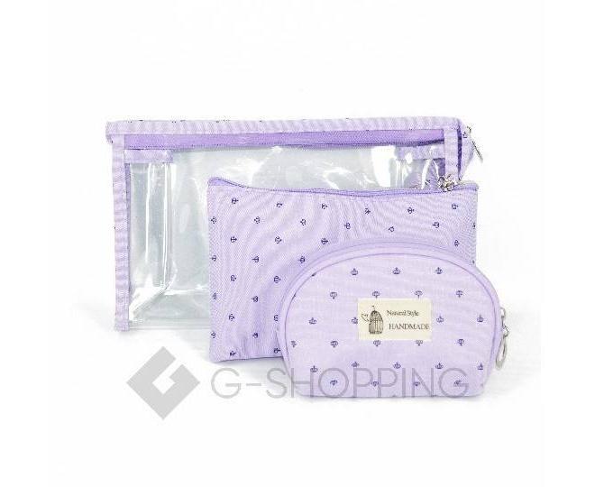 Комплект женских косметичек сиреневый из трех удобных сумочек разного размера, фото 1