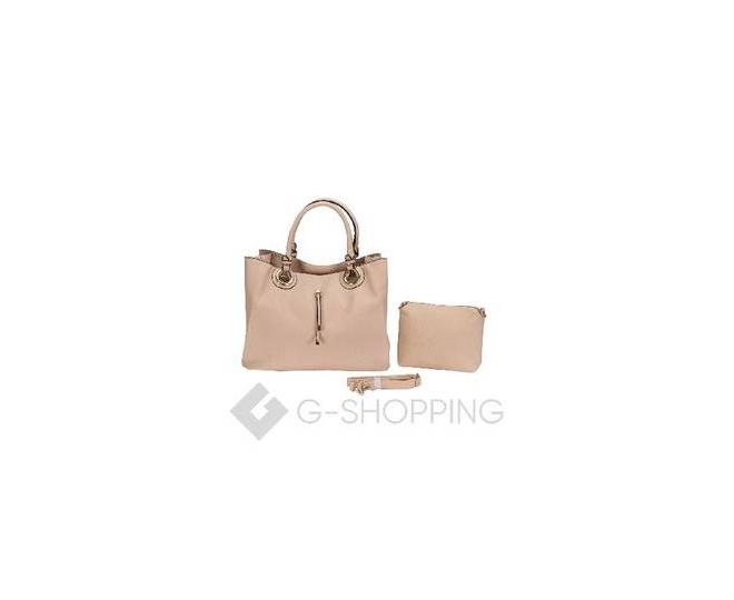 Женская сумка бежевая на молнии, фото 1
