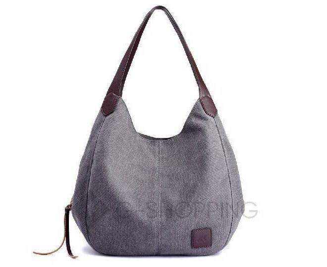 Женская серая текстильная сумка на молнии среднего размера Kingth Goldn, фото 4