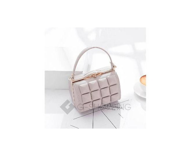 Женская маленькая бежевая сумка с застежкой фермуар C149-02 Kingth Goldn, фото 1