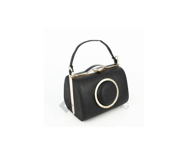 Женская маленькая черная сумка с застежкой фермуар C150-01 Kingth Goldn, фото 1