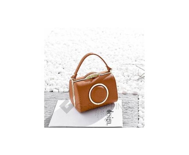 Женская маленькая коричневая сумка с застежкой фермуар Kingth Goldn, фото 1