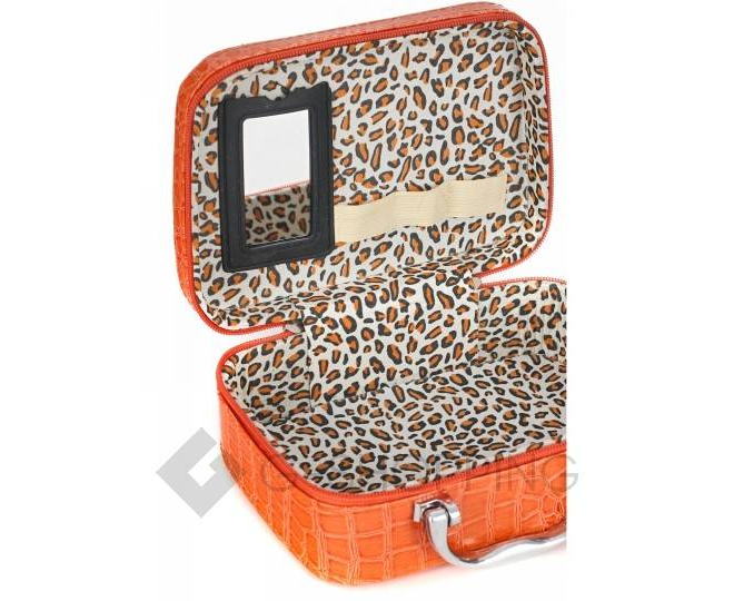 Бьюти-кейс из экокожи оранжевый с тиснением под кожу крокодила KINGTH GOLDN