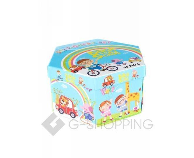 Детский набор для рисования из 46 предметов в синей картонной коробке CP001-07 DOLEMIKKI, фото 1