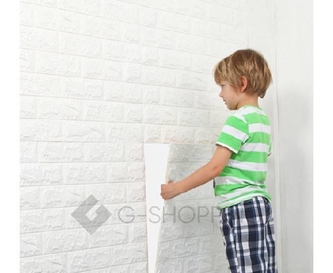 Мягкие декоративные самоклеющиеся панели для стен мягкие белые 70*77*0.1, фото 6