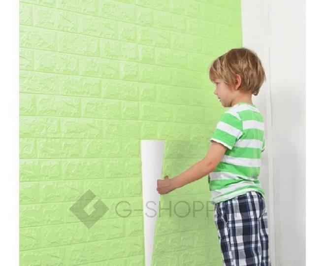 Самоклеящиеся мягкие панели для стен мягкие зеленые 70*77*0.1, фото 6