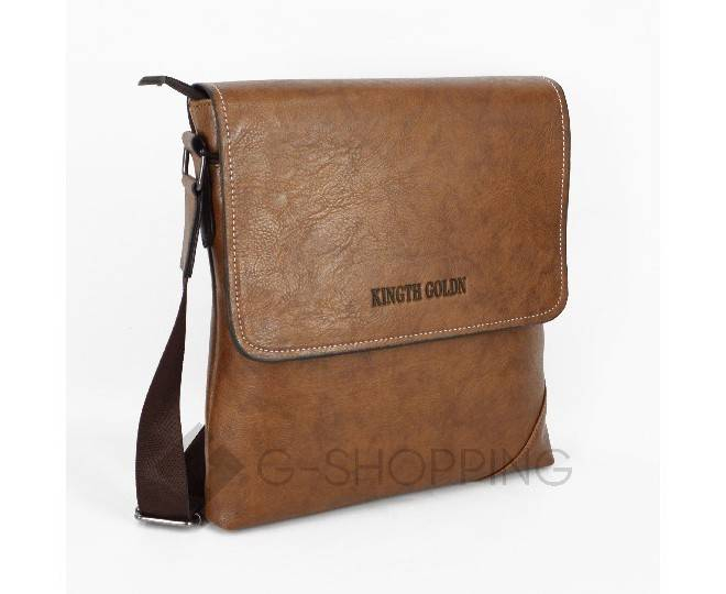 Мужская повседневная бежевая сумка среднего размера с магнитной застежкой 611 Kingth Goldn, фото 3