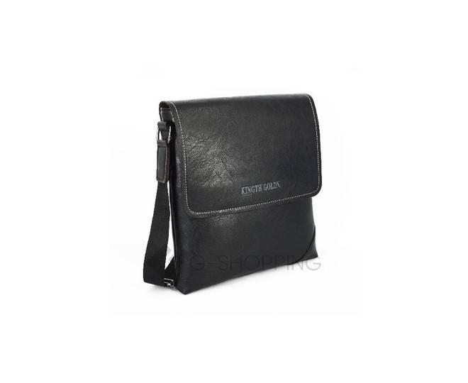 Мужская повседневная черная сумка среднего размера с магнитной застежкой 611 Kingth Goldn, фото 3