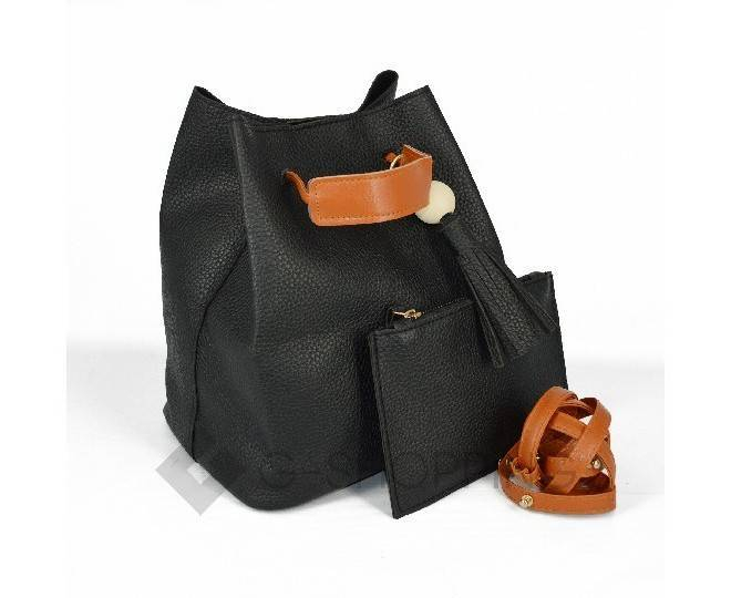 Повседневная женская черная сумка среднего размера с магнитной кнопкой c091 Kingth Goldn, фото 4