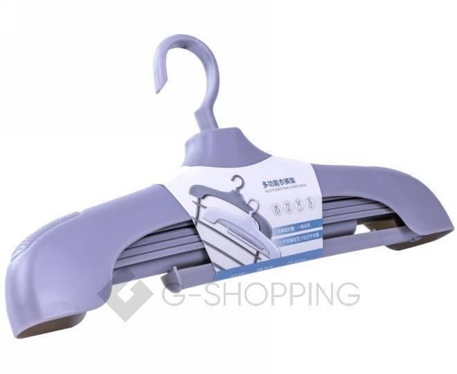 Многофункциональная раздвижная вешалка для одежды серая YJ29-23 Удачная покупка, фото 4