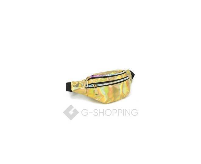 Спортивная поясная сумка из золотой лакированной кожи на молнии Kingth Goldn, фото 6