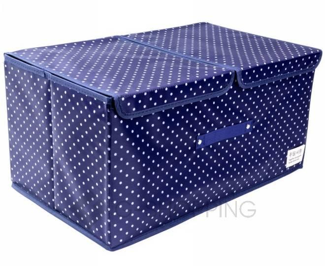 Объемный текстильный ящик для хранения с 2мя отсеками синий RYP102-06-M Удачная покупка, фото 3
