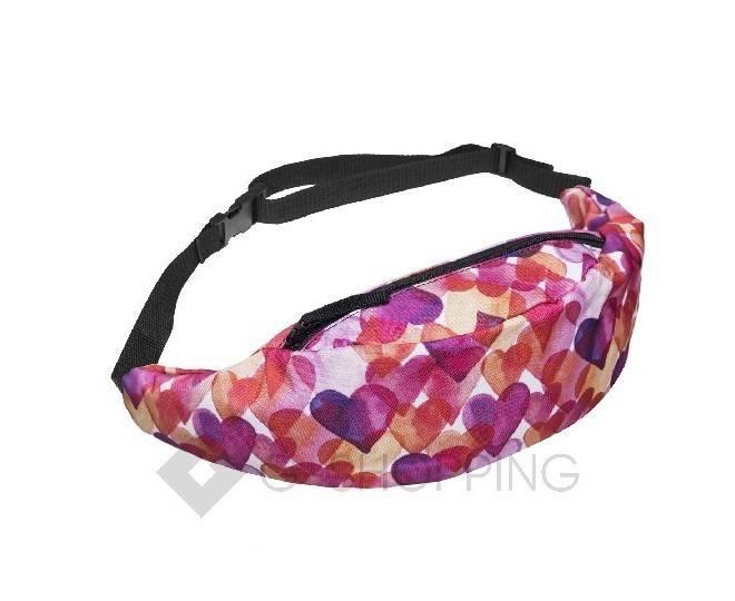 Поясная текстильная розовая сумка на молнии с ярким принтом C123-08 Kingth Goldn, фото 6