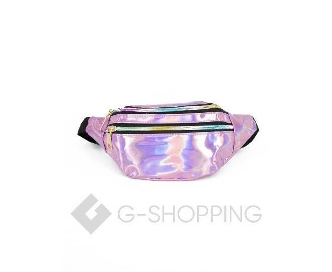 Поясная сумка из лакированной экокожи на молнии розовая Kingth Goldn, фото 6