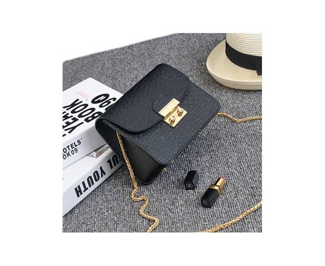 Женская черная сумка кросс-боди на цепочке с портфельной застежкой C113-01, фото 4