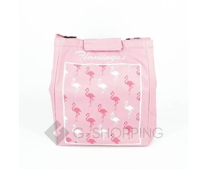 Женская розовая текстильная термосумка среднего размера с принтом C095, фото 4