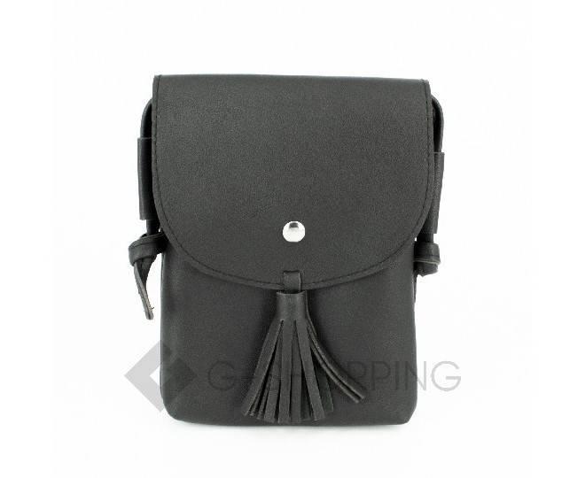 Женская маленькая черная сумка на магнитной кнопке C097, фото 4