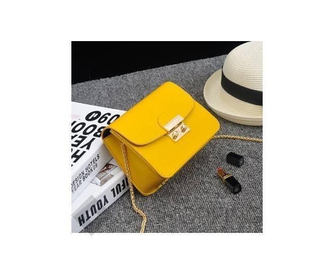 Женская желтая сумка кросс-боди на цепочке с портфельной застежкой C113-18, фото 4