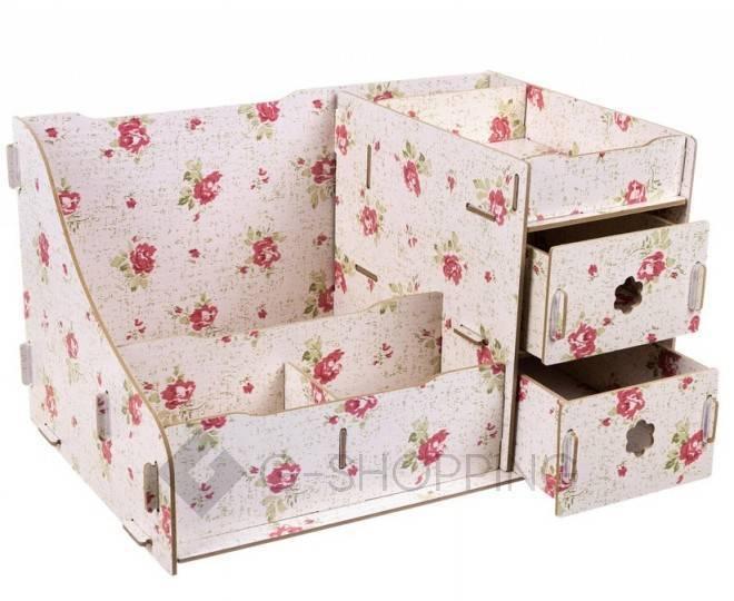 Розовый настольный комод для хранения косметики DIY, фото 3
