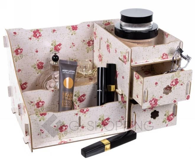 Розовый настольный комод для хранения косметики DIY, фото 1