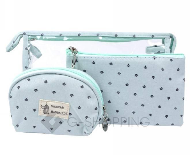 Комплект женских косметичек бирюзовый из трех удобных сумочек разного размера, фото 1