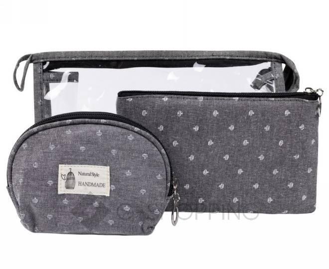 Комплект женских косметичек серый из трех удобных сумочек разного размера, фото 1