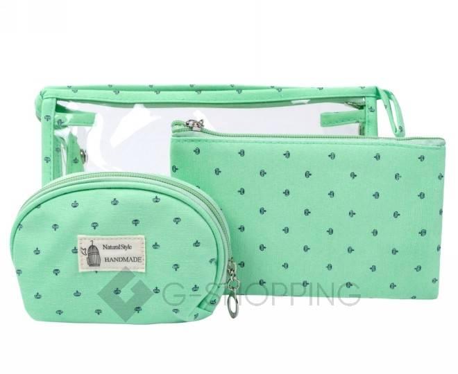 Комплект женских косметичек зеленый из трех удобных сумочек разного размера, фото 1