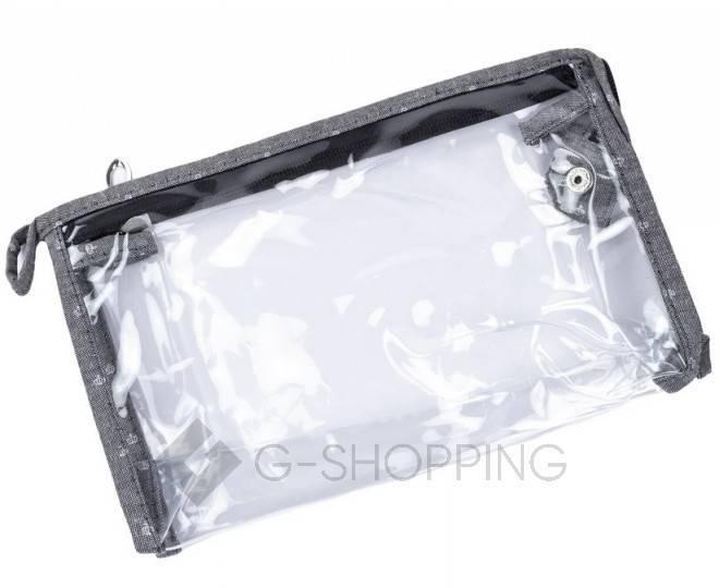 Комплект женских косметичек серый из трех удобных сумочек разного размера, фото 2