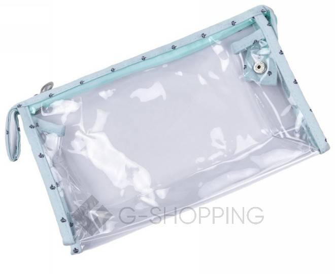 Комплект женских косметичек бирюзовый из трех удобных сумочек разного размера, фото 2