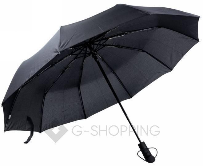 Стильный складной черный зонт 105 см, фото 1