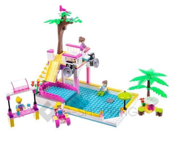 """Детская пластмассовая игра конструктор для мальчиков и девочек """"Вилла и пальмы"""" WJ0017 Dolemikki, фото 1"""