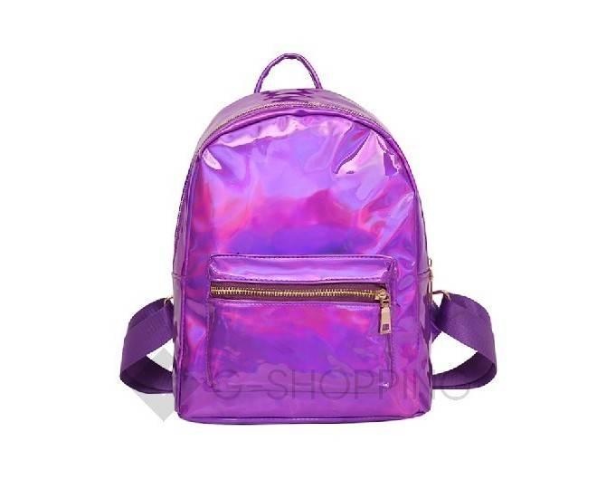 Голографический фиолетовый женский рюкзак C119-10 Kingth Goldn, фото 5